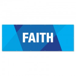 Praise Geometric Blue Faith Outdoor Vinyl Banner