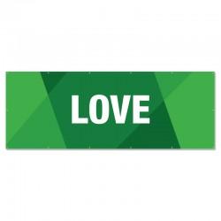 Praise Geometric Green Love Outdoor Vinyl Banner