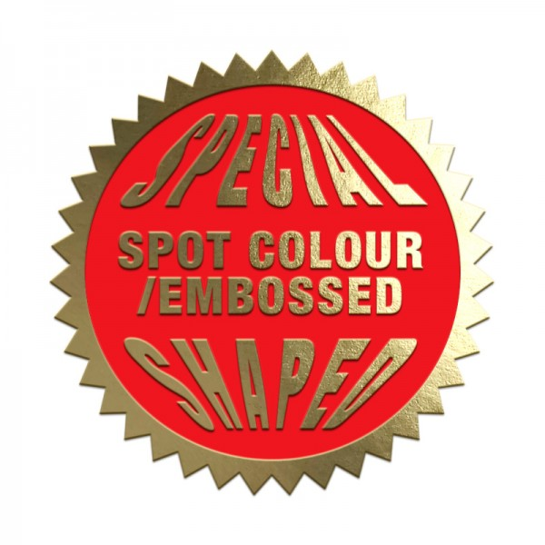 Spot Colour plus Embossed Special Shaped Labels