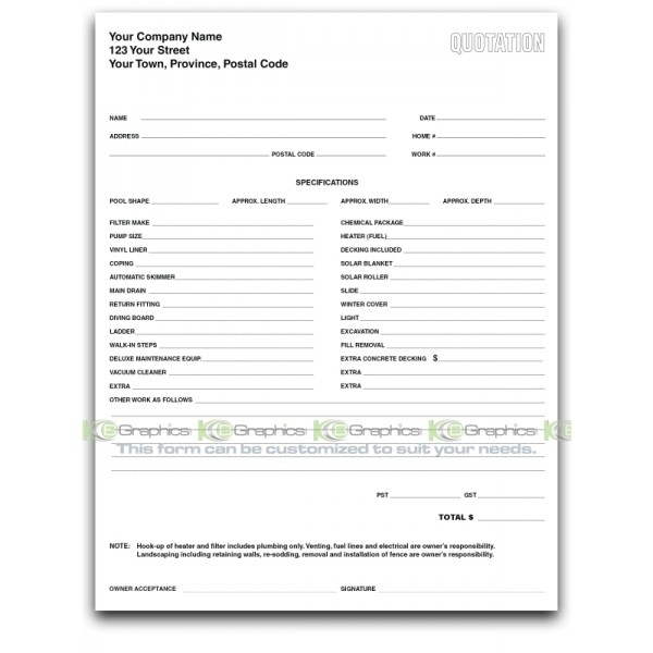 Pool Quotation Form for Inground