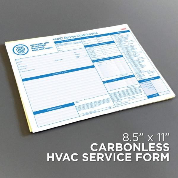 HVAC Service Order Invoice Form Landscape