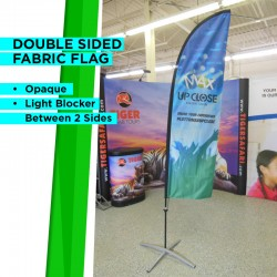 9ft High Outdoor Curved Flag with Ground Stake