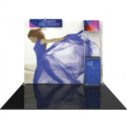 10FT Straight Fabric Trade Show Display with Header, Lights and Stand-off Shelf