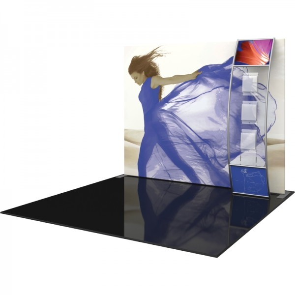 10FT Straight Fabric Trade Show Display with Stand-off Literature Pockets