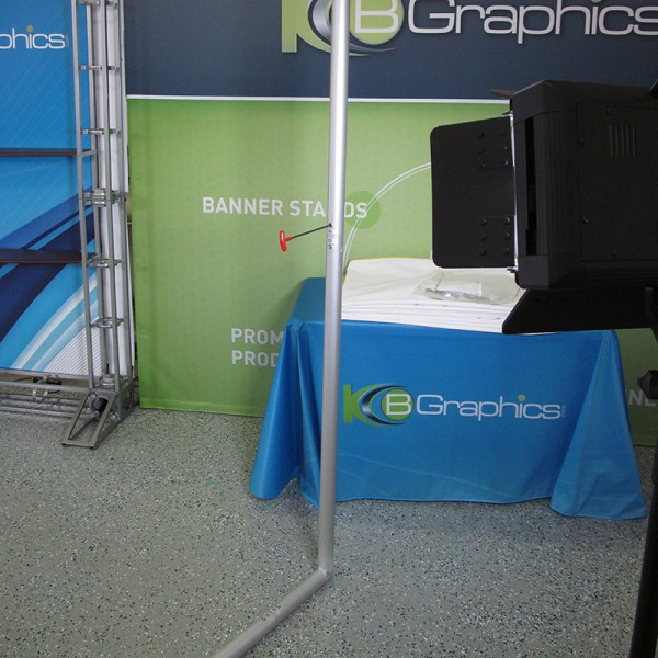 20' Horizontally Curved Fabric Trade Show Display with Stand-off Monitor Mount