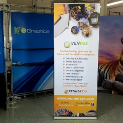 """Banner Bug Retractable Banner Stand - 39""""W x 86""""H"""